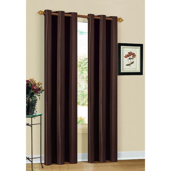 Duck River Textile 84 In Chocolate Polyester Blackout Standard Lined Grommet Curtain Panel Pair In The Curtains Drapes Department At Lowes Com