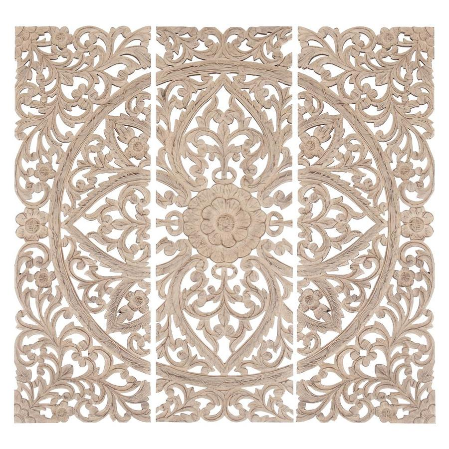 Grayson Lane 16 X 48 Extra Large Hand Carved Distressed White Wood Wall Panels With Floral And Acanthus Designs Set Of 3 Panels In The Wall Art Department At Lowes Com