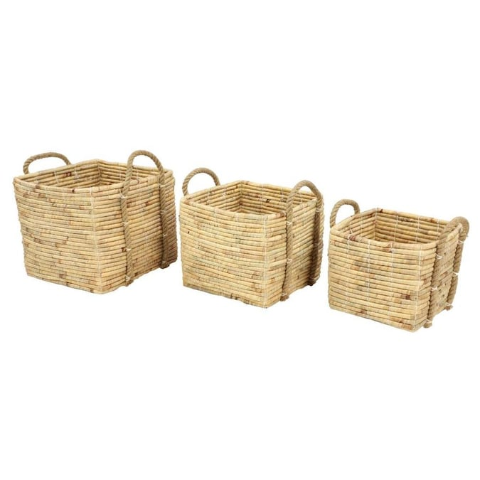 Grayson Lane Grayson Lane Set Of 3 16 In 14 In 11 In Natural Storage Basket Brown Sea Grass In The Decorative Accessories Department At Lowes Com