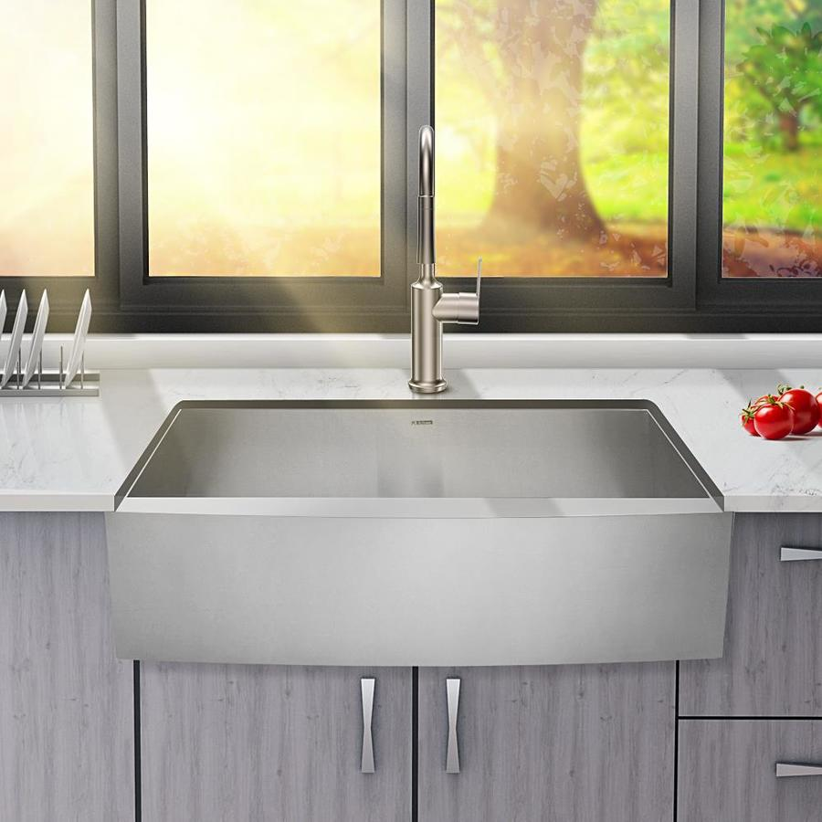 Lordear Apron Front Stainless Steel Kitchen Sink Farmhouse Apron Front 33 In X 20 In Stainless Steel Single Bowl Workstation Kitchen Sink In The Kitchen Sinks Department At Lowes Com