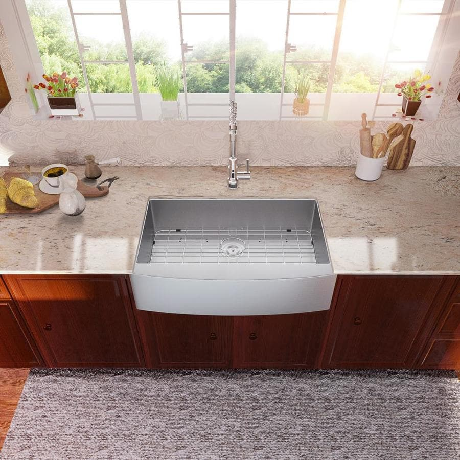 Lordear Apron Front Stainless Steel Kitchen Sink Farmhouse Apron Front 33 In X 21 In Stainless Steel Single Bowl Workstation Kitchen Sink In The Kitchen Sinks Department At Lowes Com