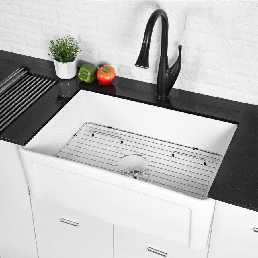 Lordear Fireclay Single Bowls Farmhouse Sink Farmhouse Apron Front 33 In X 20 In White Single Bowl Kitchen Sink In The Kitchen Sinks Department At Lowes Com