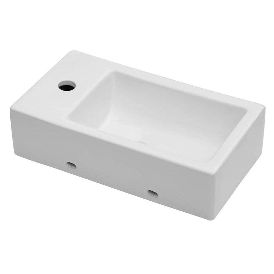 Lordear Porcelain Vanity Sink White Ceramic Wall Mount Rectangular Bathroom Sink 18 In X 10 In In The Bathroom Sinks Department At Lowes Com