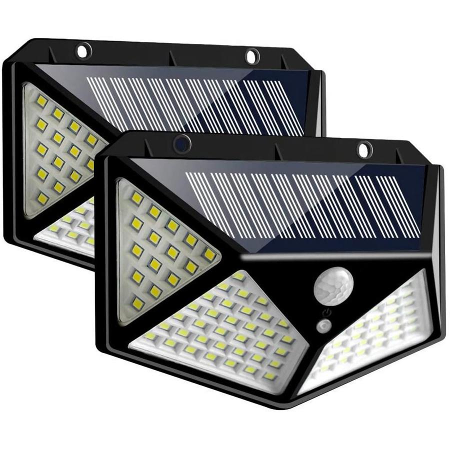 Lightsmax 270 Degree 1000 Lumen Dual Detection Zone Black Solar Integrated Led Motion Activated Flood Light 2 Pack In The Motion Sensor Flood Lights Department At Lowes Com