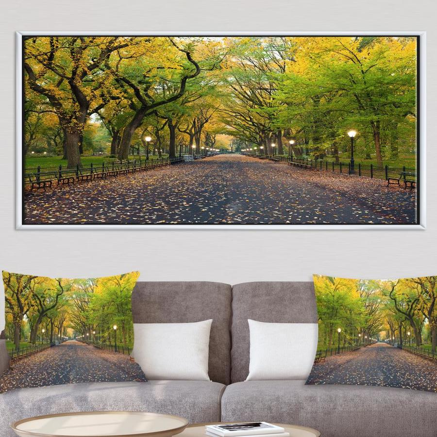 Designart The Mall Area In Central Park Large Landscape Framed Canvas Art In The Wall Art Department At Lowes Com