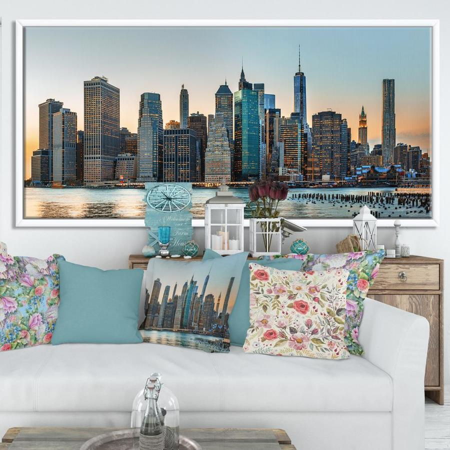 Designart New York City Skyline Photography Framed Canvas Art Print In The Wall Art Department At Lowes Com