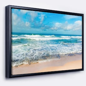Designart Large Piece Of Wood On Beach Modern Seascape Framed Canvas Artwork In The Wall Art Department At Lowes Com