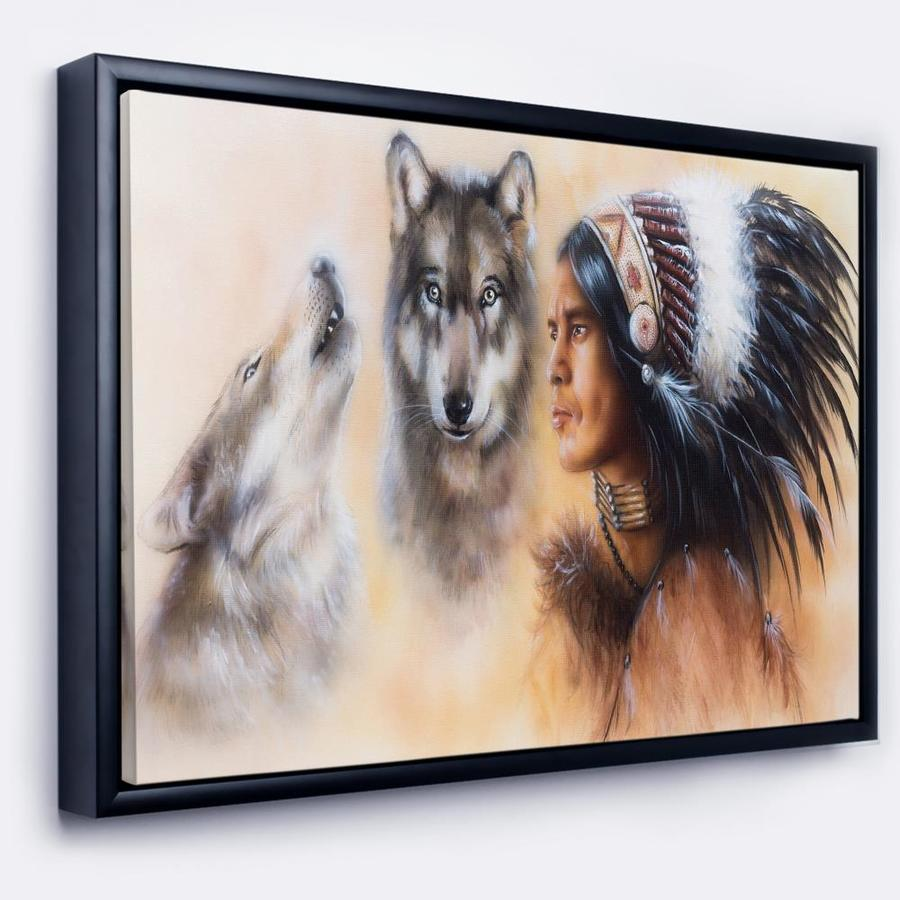 Designart Indian Warrior With Two Wolves Animal Art On Framed Canvas In The Wall Art Department At Lowes Com