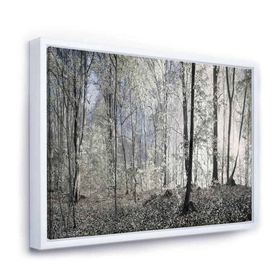 Designart Dark Morning In Forest Panorama Landscape Framed Canvas Art Print In The Wall Art Department At Lowes Com