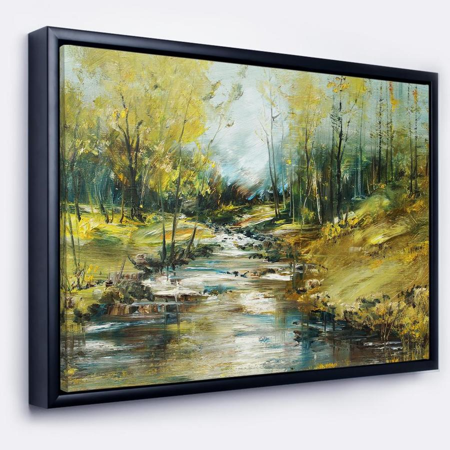 Designart Creek In The Forest Oil Painting Landscape Painting Framed Canvas Print In The Wall Art Department At Lowes Com