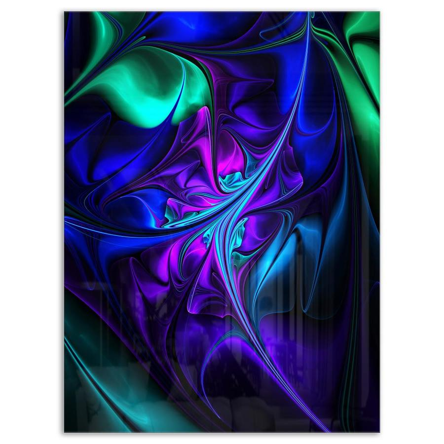 Designart Bright Blue Abstract Floral Shapes Large Floral Metal Wall Art In The Wall Art Department At Lowes Com