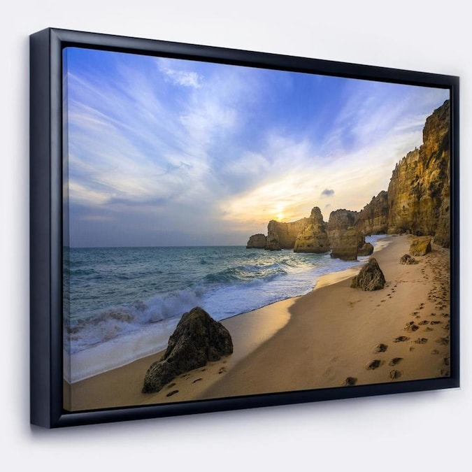 Designart Beautiful Sunset Over Algarve Portugal Extra Large Seashore Framed Canvas Art In The Wall Art Department At Lowes Com