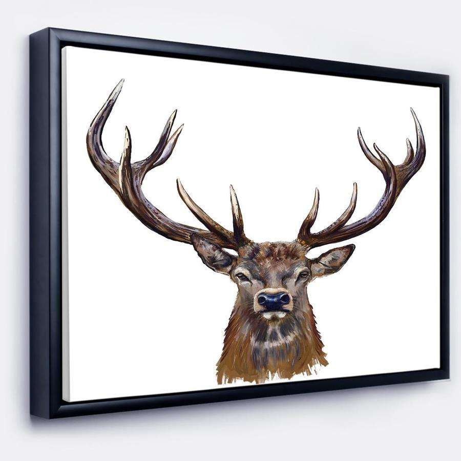 Designart Deer Head In Front Illustration Animal Art On Framed Canvas In The Wall Art Department At Lowes Com