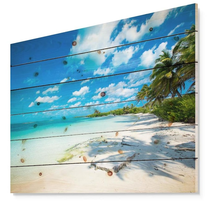 Designart Designart Tropical Beach With Palm Shadows Seashore Print On Natural Pine Wood In The Wall Art Department At Lowes Com
