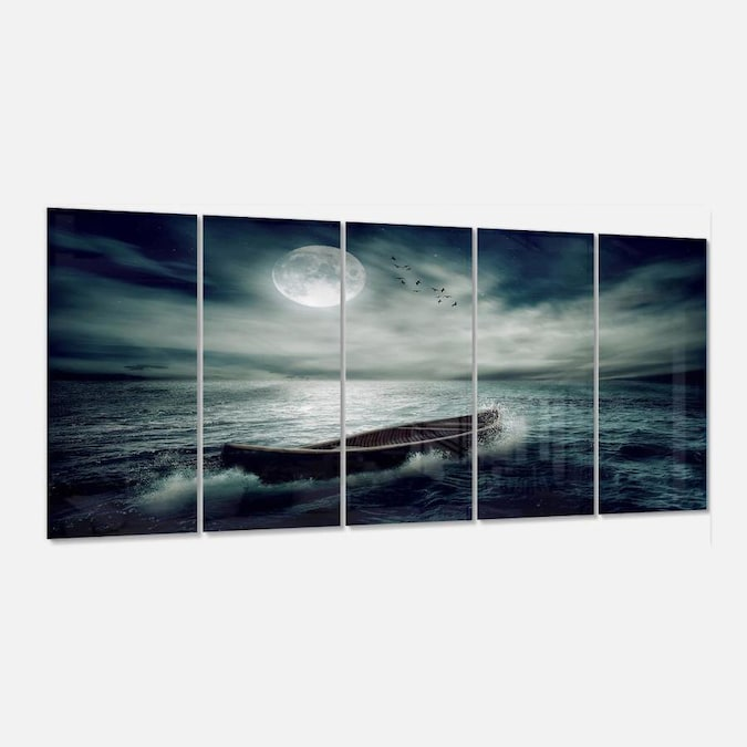 Designart Boat Drifting Away After Storm Multipanel Seashore Metal Wall Art In The Wall Art Department At Lowes Com