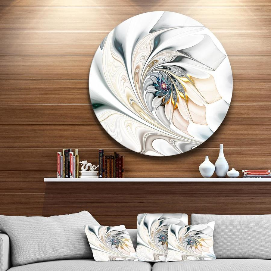 Designart White Stained Glass Floral Art Large Floral Metal Circle Wall Art In The Wall Art Department At Lowes Com