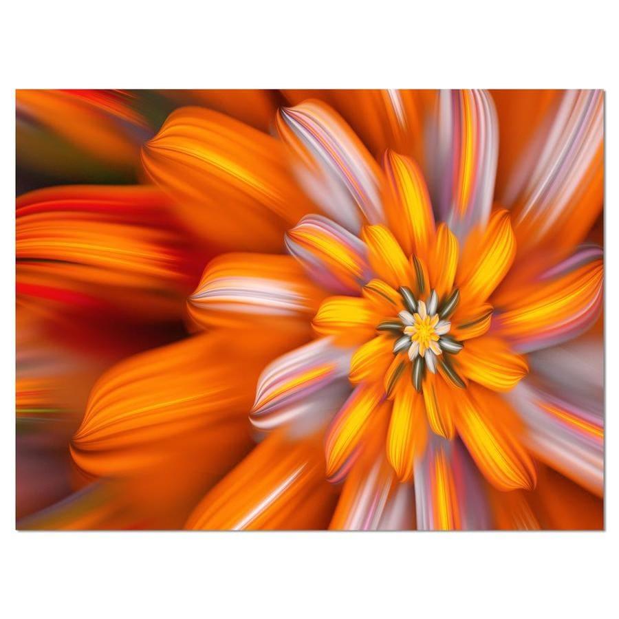 Designart Massive Orange Fractal Flower Large Floral Canvas Art Print In The Wall Art Department At Lowes Com