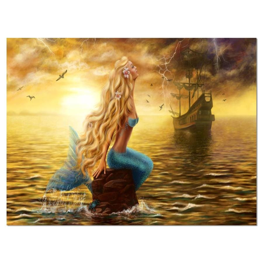 Designart Sea Mermaid With Ghost Ship Seascape Canvas Art Print In The Wall Art Department At Lowes Com