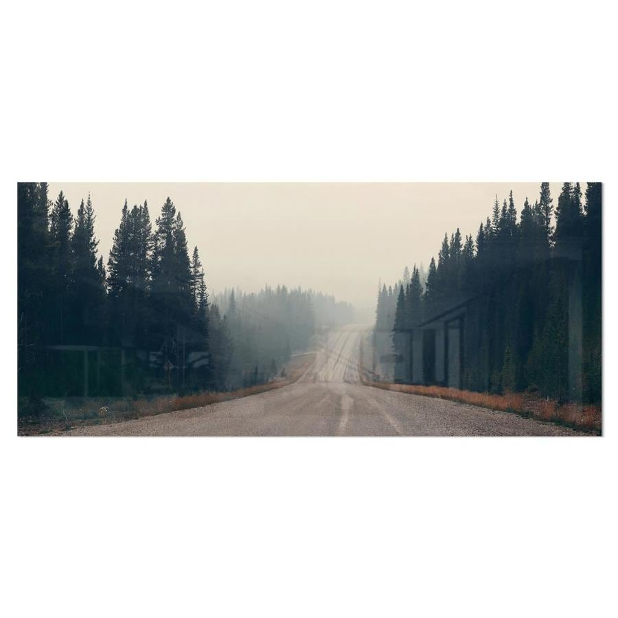 Designart Foggy Road In Forest In Banff Park Modern Seascape Metal Artwork In The Wall Art Department At Lowes Com