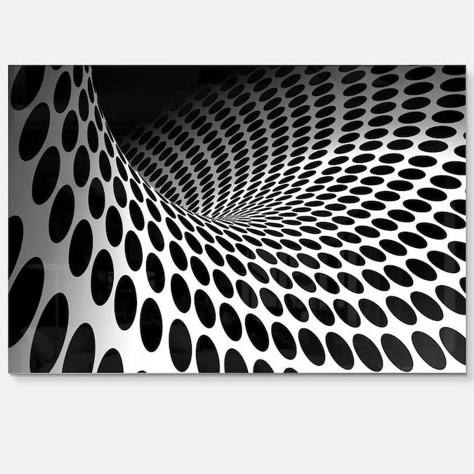 Designart Waves and Circles Black n' White- Abstract Metal ...