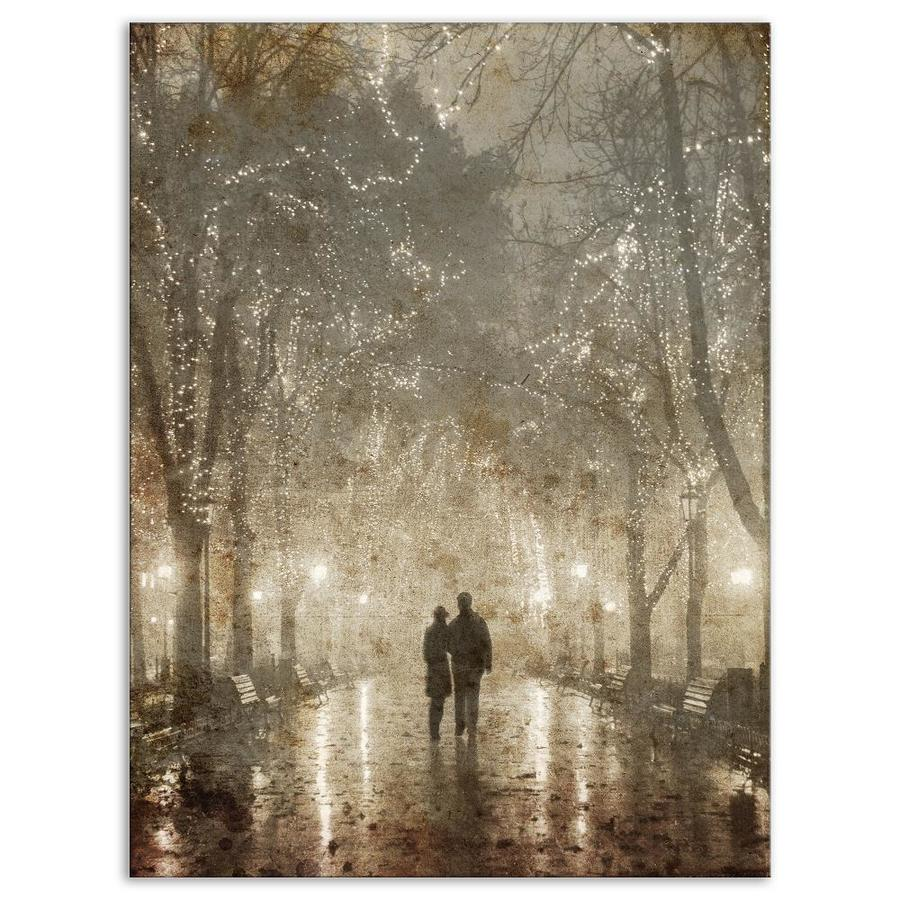 Designart Couple Walking In Night Lights Landscape Photography Canvas Print In The Wall Art Department At Lowes Com