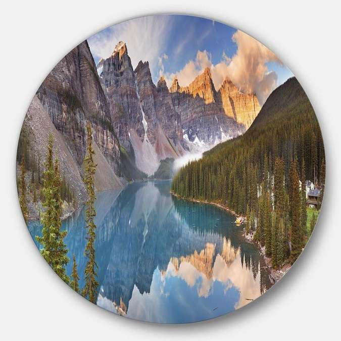 Designart Moraine Lake In Banff Park Canada Landscape Metal Circle Wall Art In The Wall Art Department At Lowes Com