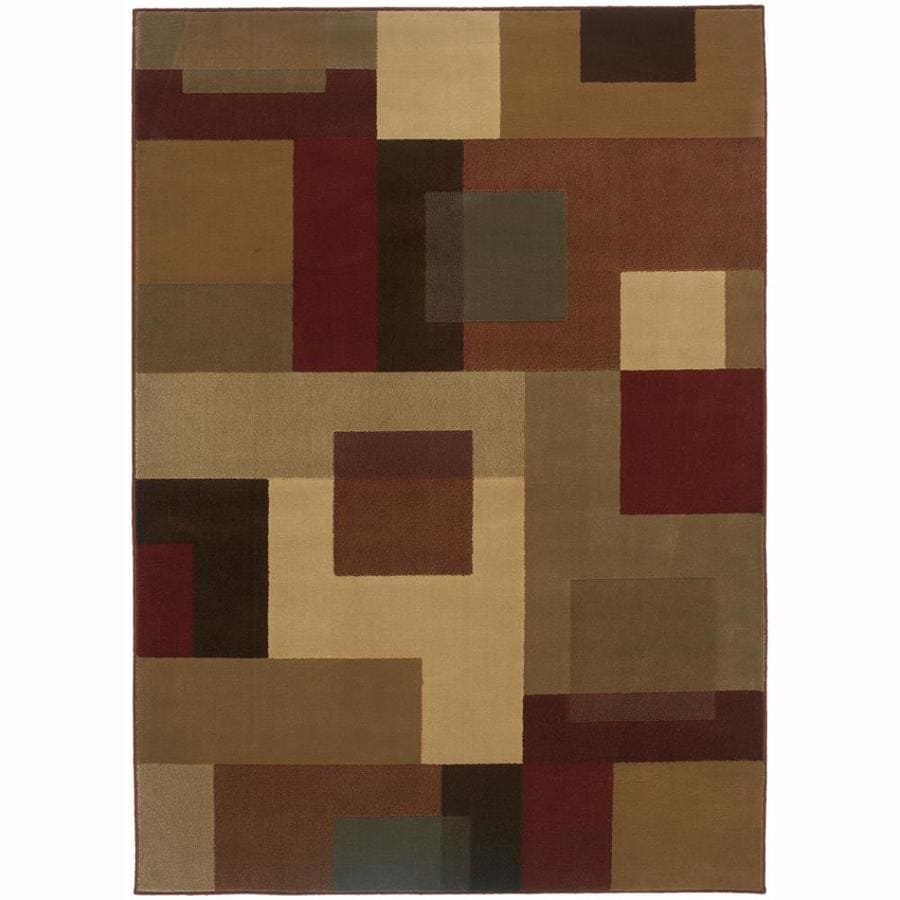 Archer Lane Walnut Red Rectangular Indoor Machine-Made Nature Area Rug (Common: 4 x 6; Actual: 3.2-ft W x 5.6-ft L)