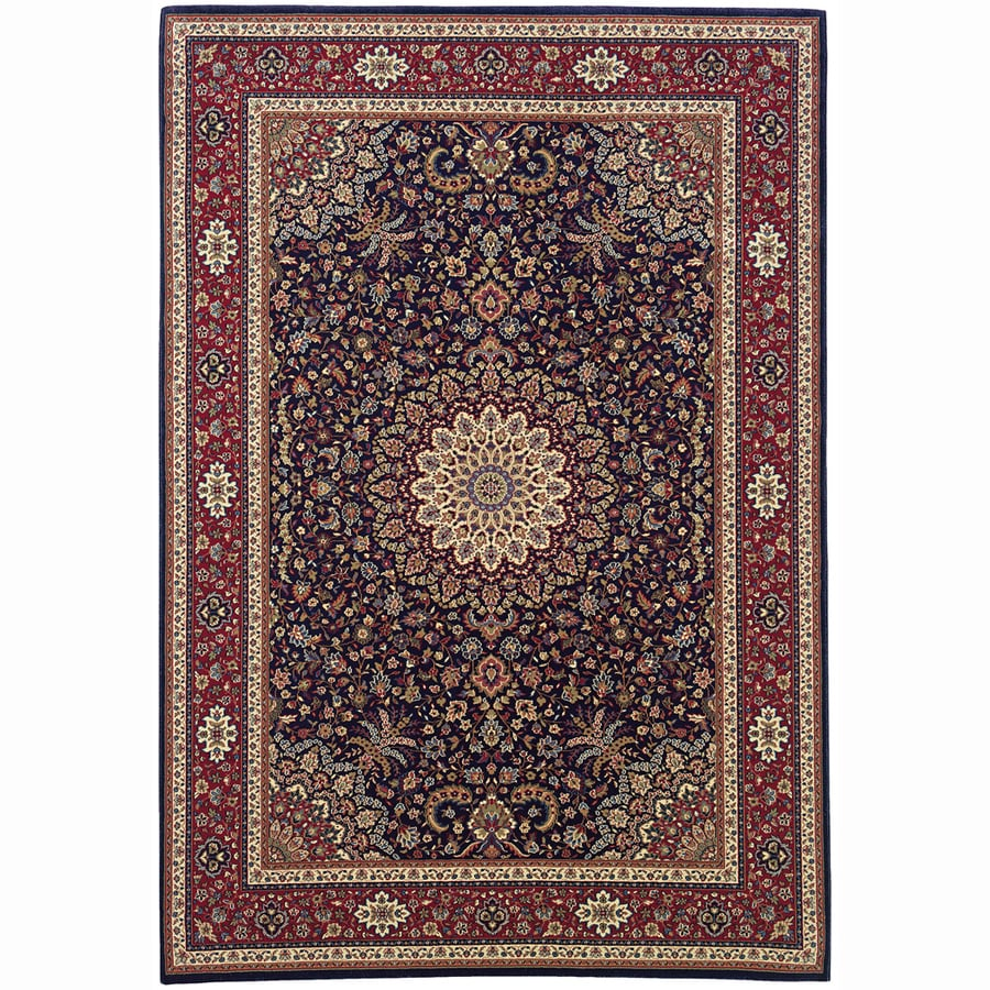 Archer Lane Bridge Blue Rectangular Indoor Machine-Made Oriental Area Rug (Common: 5 x 7; Actual: 5.25-ft W x 7.75-ft L)