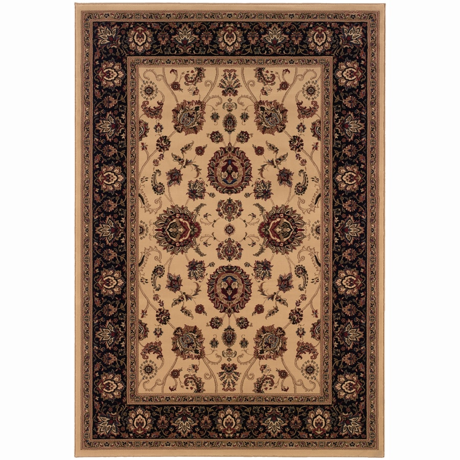 Archer Lane Meadow Ivory Rectangular Indoor Machine-Made Oriental Area Rug (Common: 6 x 9; Actual: 7.8-ft W x 9.5-ft L)