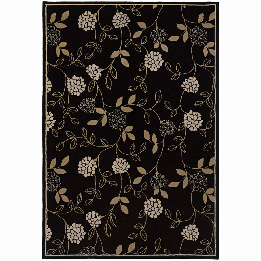 Archer Lane Lincoln Black Rectangular Indoor Machine-Made Oriental Area Rug (Common: 5 x 7; Actual: 5.25-ft W x 7.75-ft L)