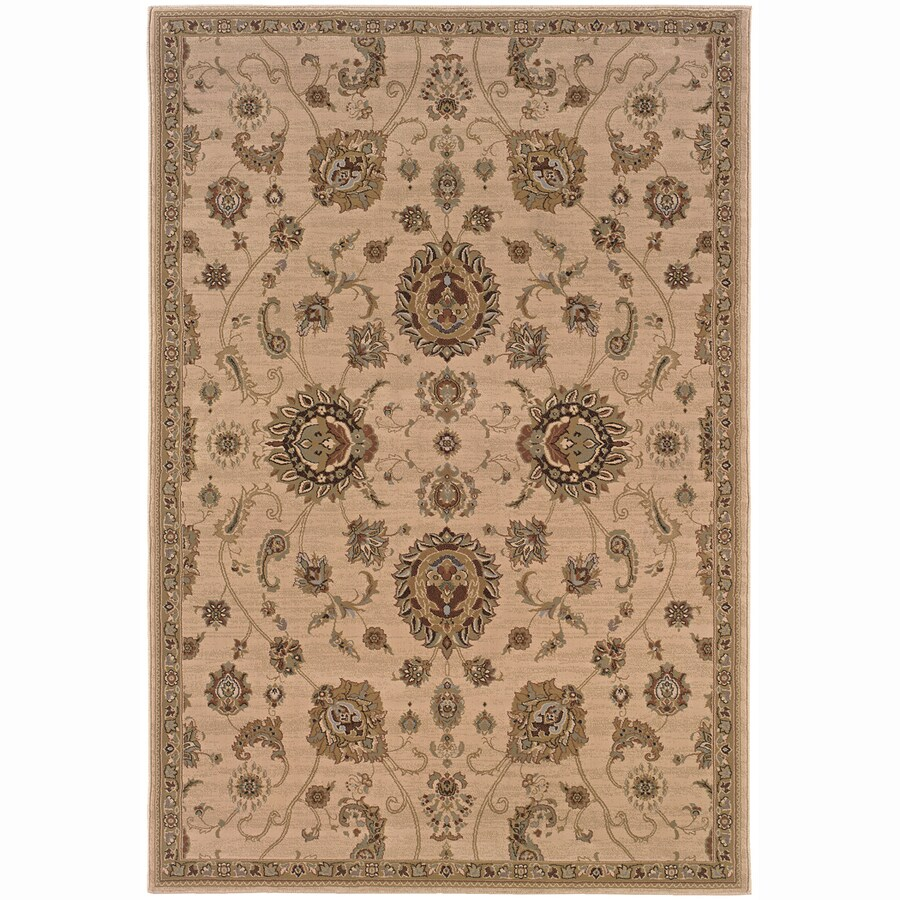 Archer Lane Summit Beige Rectangular Indoor Machine-Made Oriental Area Rug (Common: 5 x 7; Actual: 5.25-ft W x 7.75-ft L)
