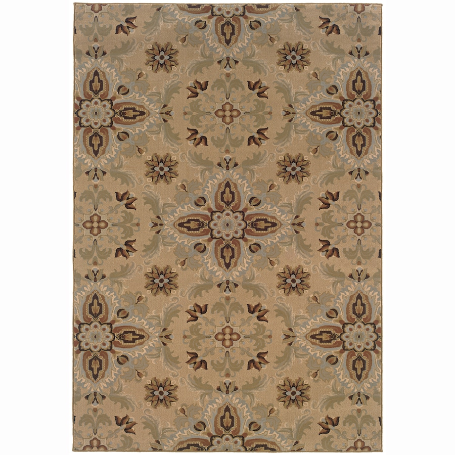 Archer Lane Virginia Gold Rectangular Indoor Machine-Made Oriental Area Rug (Common: 10 x 14; Actual: 10-ft W x 12.6-ft L)