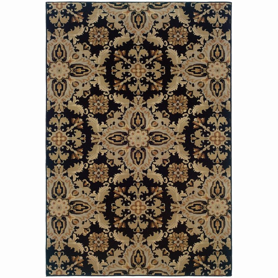 Archer Lane Virginia Black Rectangular Indoor Machine-Made Oriental Area Rug (Common: 4 x 6; Actual: 4-ft W x 6-ft L)