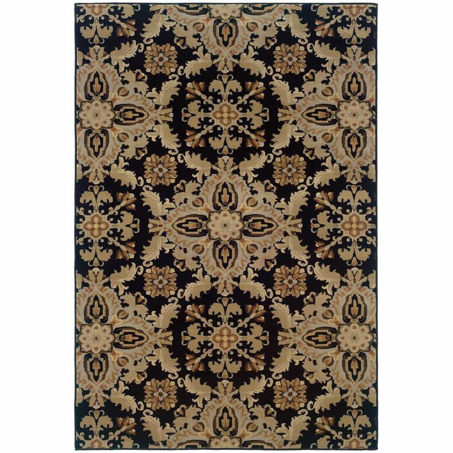 Archer Lane Virginia Black Rectangular Indoor Machine-Made Oriental Area Rug (Common: 6 x 9; Actual: 7.8-ft W x 9.5-ft L)