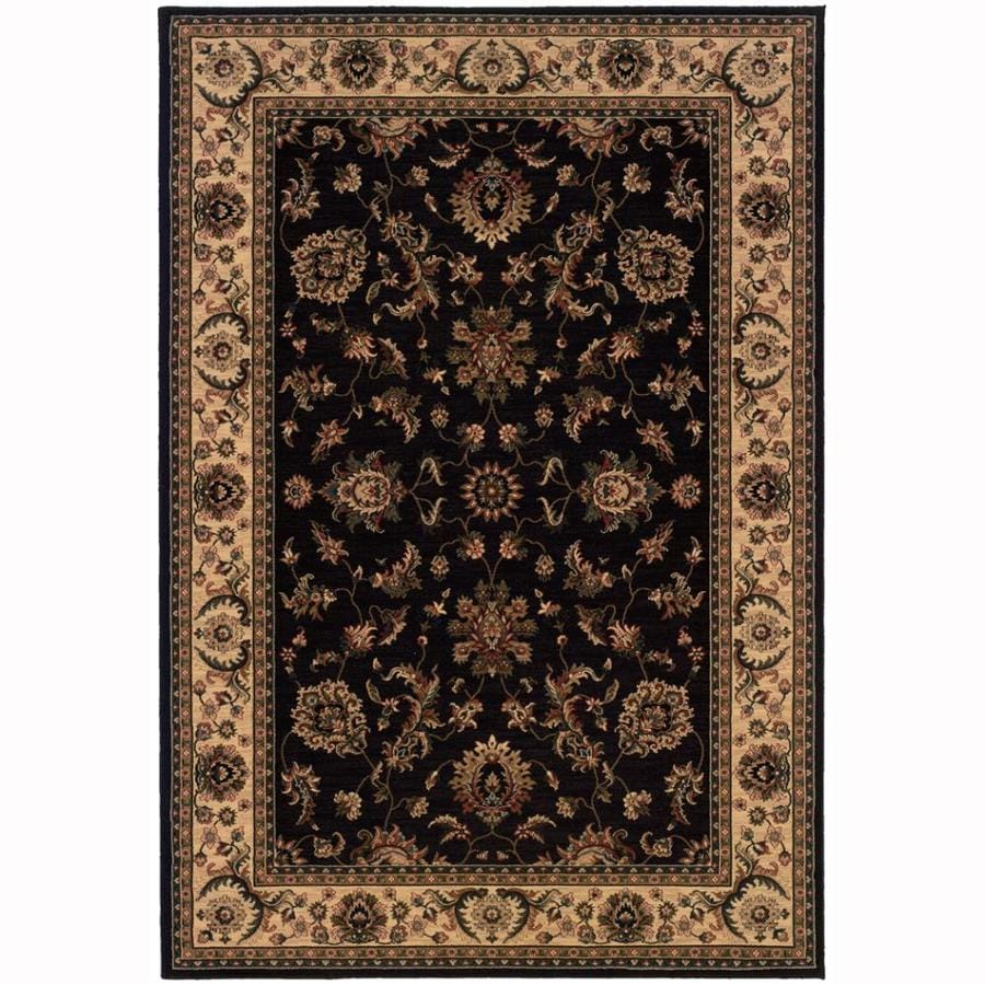 Archer Lane Woodland Black Rectangular Indoor Machine-Made Oriental Area Rug (Common: 6 x 9; Actual: 7.8-ft W x 9.5-ft L)