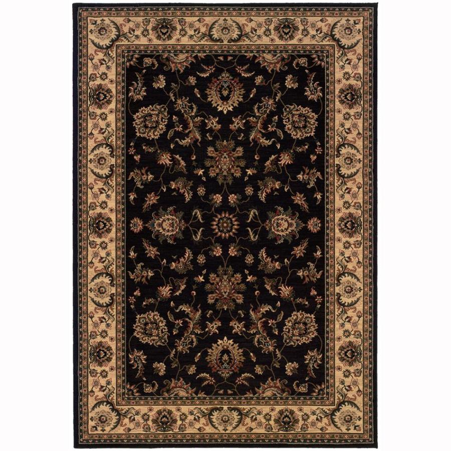 Archer Lane Woodland Black Rectangular Indoor Machine-Made Oriental Area Rug (Common: 8 x 11; Actual: 7.8-ft W x 11-ft L)