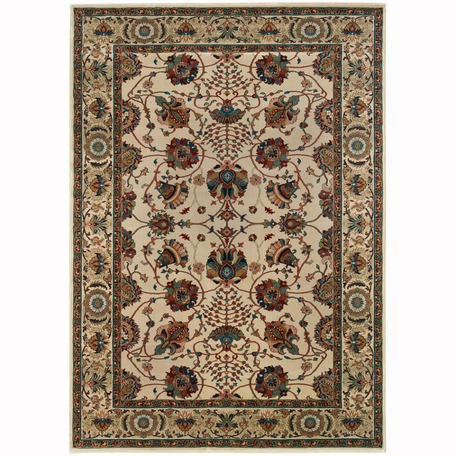 Archer Lane Fairway Ivory Rectangular Indoor Machine-Made Oriental Area Rug (Common: 5 x 7; Actual: 5.25-ft W x 7.75-ft L)