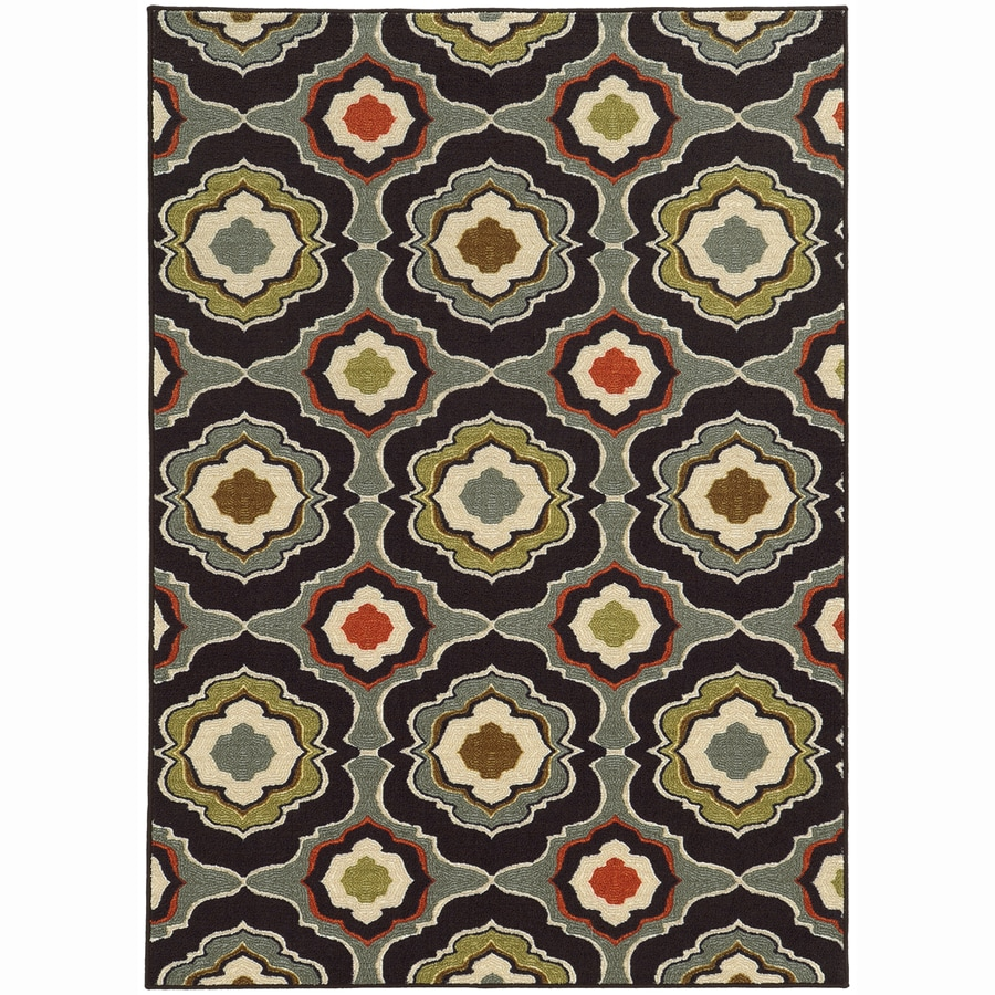 Archer Lane College Black Rectangular Indoor Machine-Made Nature Area Rug (Common: 5 x 7; Actual: 5.25-ft W x 7.25-ft L)