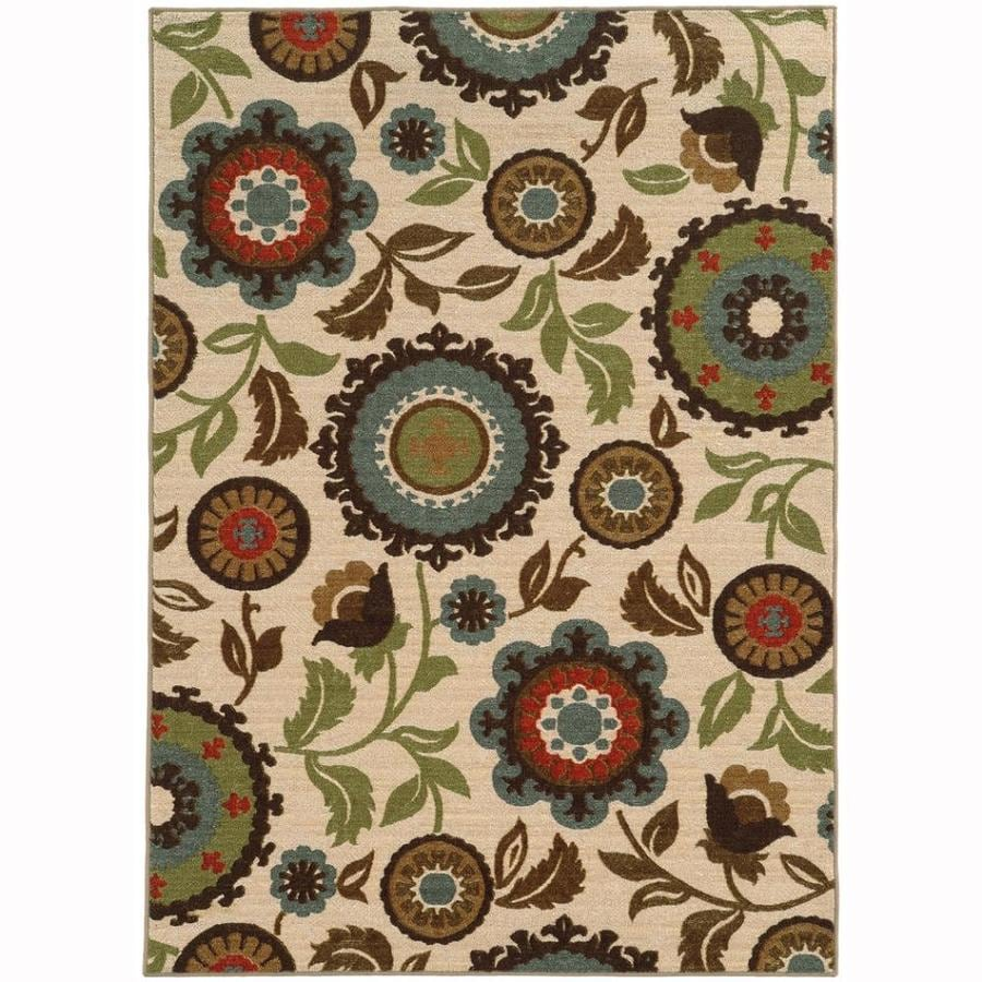 Archer Lane Front Ivory Rectangular Indoor Machine-Made Nature Area Rug (Common: 6 x 9; Actual: 6.6-ft W x 9.25-ft L)