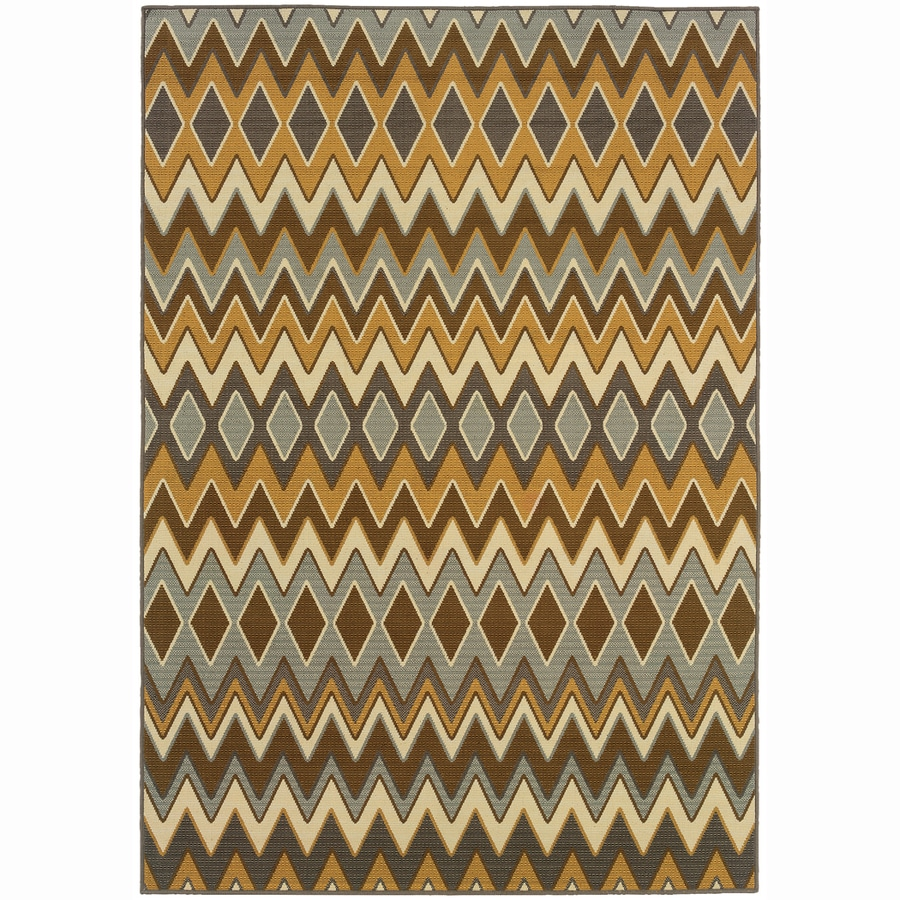 Archer Lane Poplar Gray Rectangular Indoor Machine-Made Coastal Area Rug (Common: 6 x 9; Actual: 6.6-ft W x 9.5-ft L)