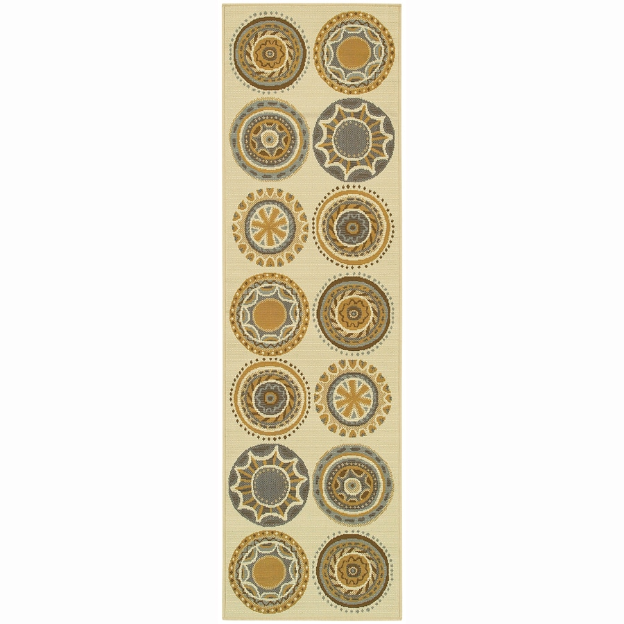 Archer Lane Circles Ivory Rectangular Indoor Machine-Made Coastal Runner (Common: 2 x 8; Actual: 2.25-ft W x 7.5-ft L)