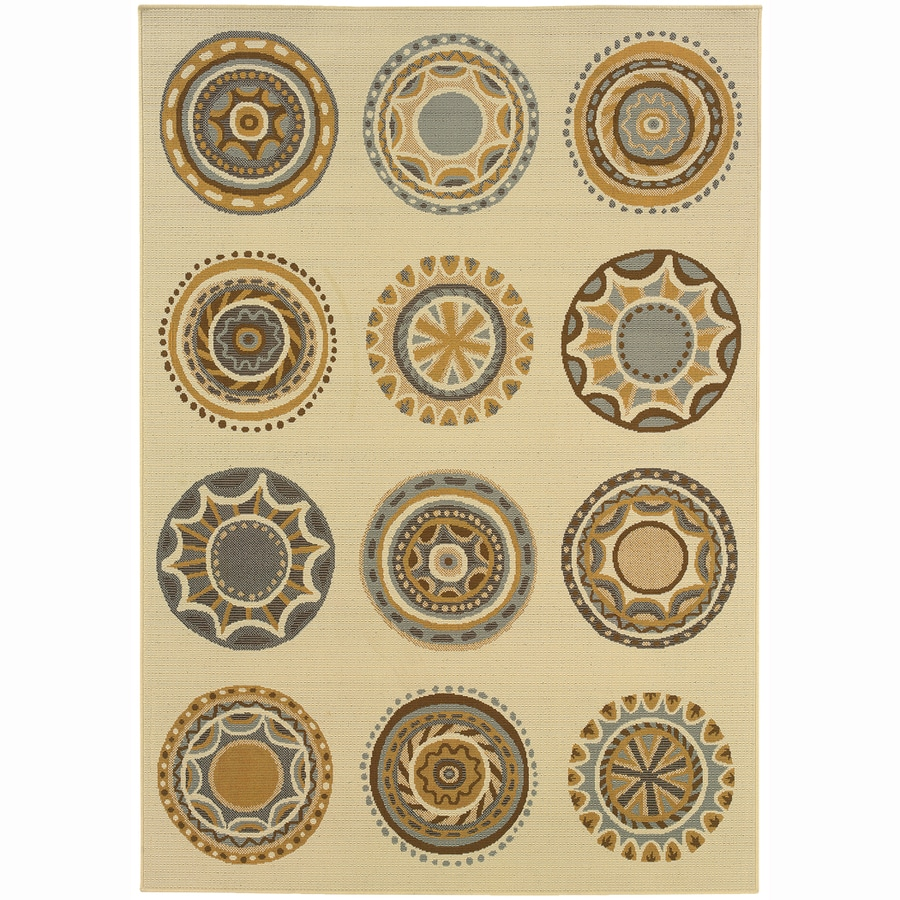 Archer Lane Circles Ivory Rectangular Indoor Machine-Made Coastal Area Rug (Common: 8 x 11; Actual: 7.8-ft W x 10.8-ft L)