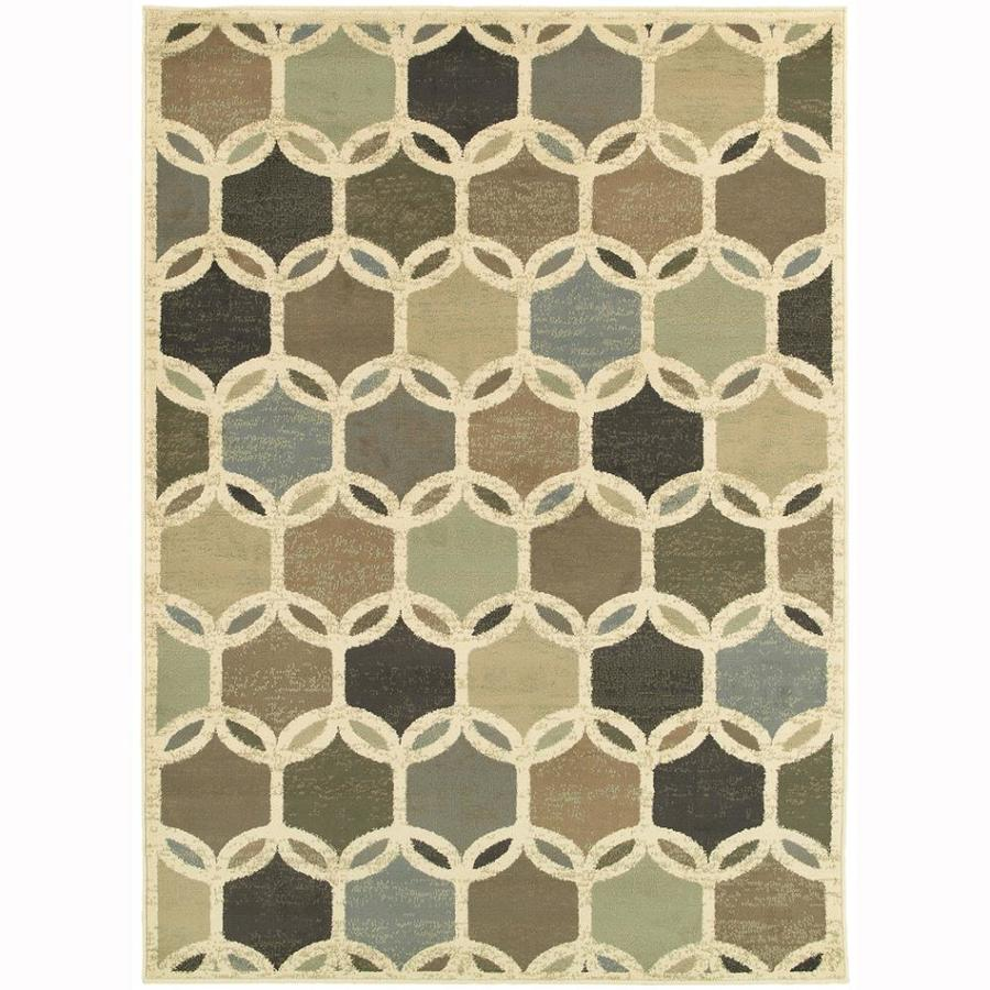 Archer Lane King Ivory Rectangular Indoor Machine-Made Nature Area Rug (Common: 5 x 7; Actual: 5.25-ft W x 7.25-ft L)