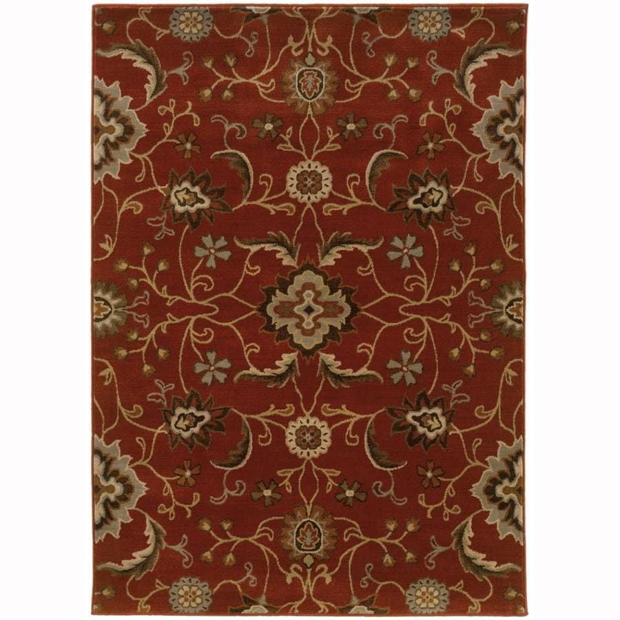 Archer Lane Grand Red Rectangular Indoor Machine-Made Nature Area Rug (Common: 4 x 6; Actual: 3.8-ft W x 5.4-ft L)