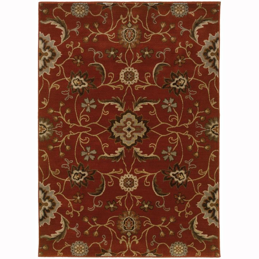 Archer Lane Grand Red Rectangular Indoor Machine-Made Nature Area Rug (Common: 7 x 10; Actual: 6.6-ft W x 9.5-ft L)