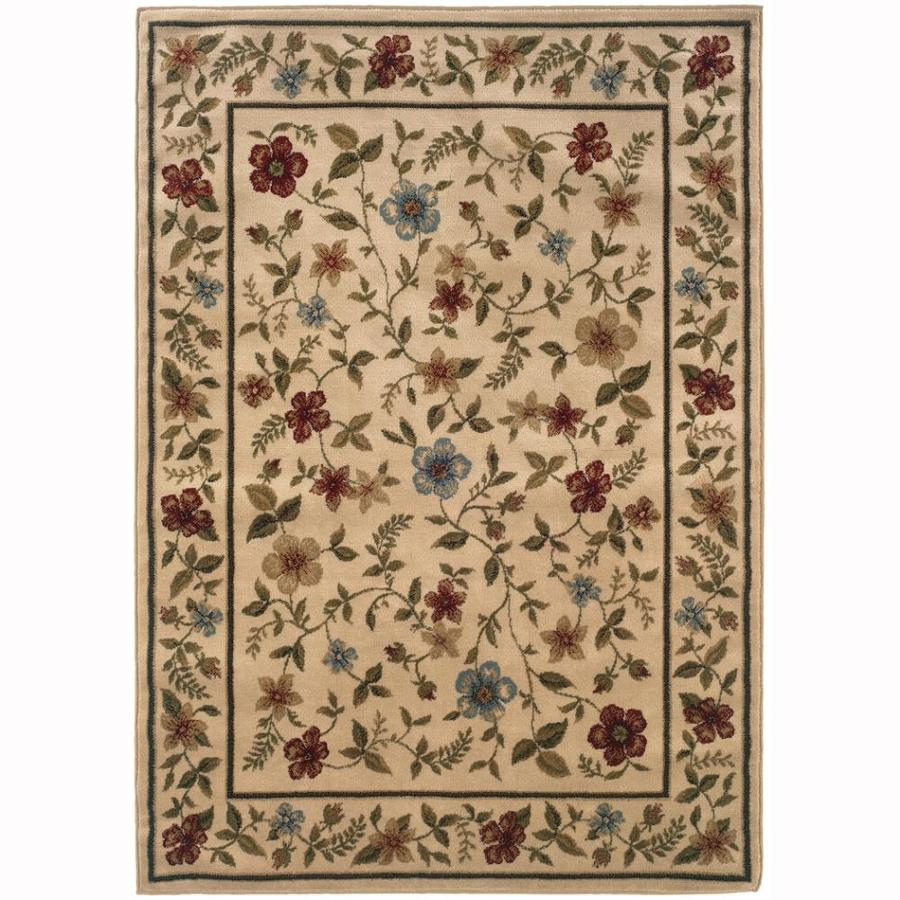 Archer Lane Floral Ivory Rectangular Indoor Machine-Made Nature Area Rug (Common: 5 x 7; Actual: 5-ft W x 7.25-ft L)