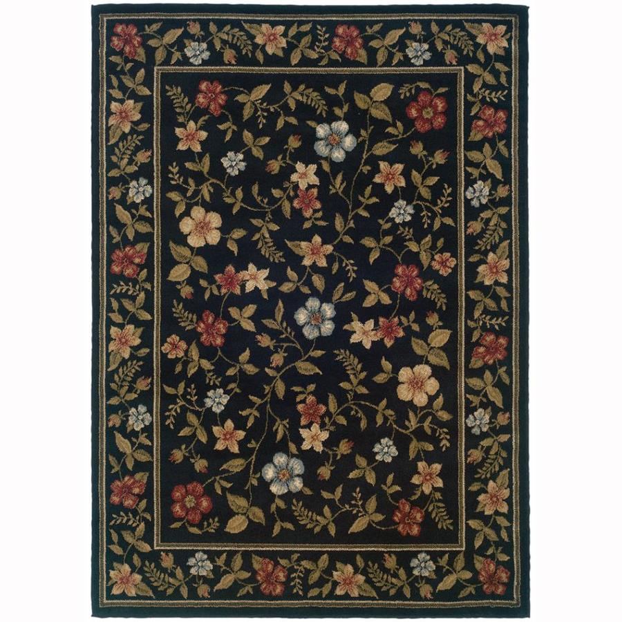 Archer Lane Floral Black Rectangular Indoor Machine-Made Nature Area Rug (Common: 8 x 10; Actual: 7.8-ft W x 10-ft L)
