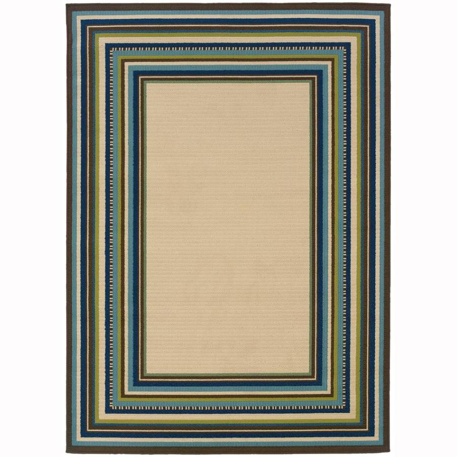 Archer Lane Aachen Ivory Rectangular Indoor/Outdoor Machine-Made Tropical Area Rug (Common: 7 x 10; Actual: 6.6-ft W x 9.5-ft L)