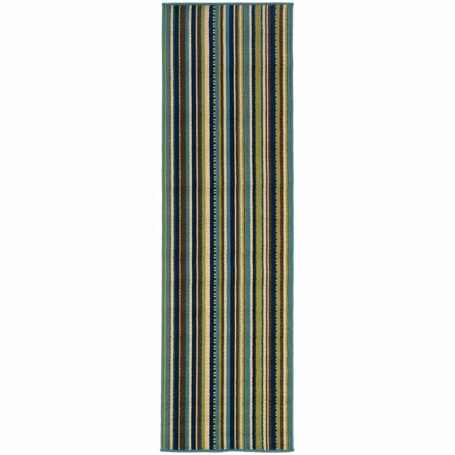 Archer Lane Babcock Blue Rectangular Indoor/Outdoor Machine-Made Tropical Runner (Common: 2x8; Actual: 2.25-ft W x 7.5-ft L)