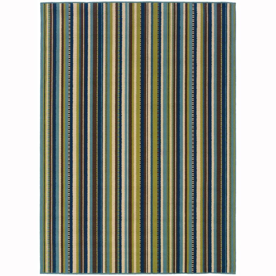 Archer Lane Babcock Blue Rectangular Indoor/Outdoor Machine-Made Tropical Area Rug (Common: 5 x 8; Actual: 5.25-ft W x 7.5-ft L)